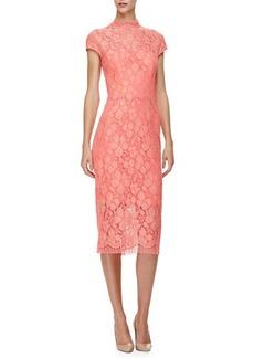 Lela Rose Cap-Sleeve Lace Sheath Dress