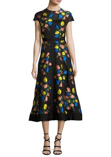 Lela Rose Cap-Sleeve Tulip Fil Coupé A-Line Dress