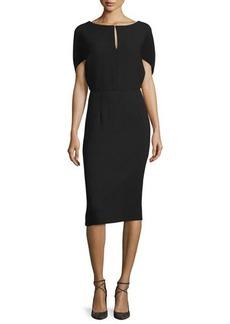 Lela Rose Cape-Sleeve Sheath Midi Dress