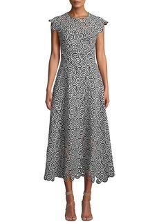 Lela Rose Circle-Lace Cap-Sleeve A-Line Midi Dress