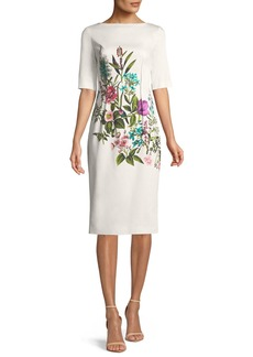 Lela Rose Claire Elbow-Sleeve Floral-Print Stretch-Cotton Dress