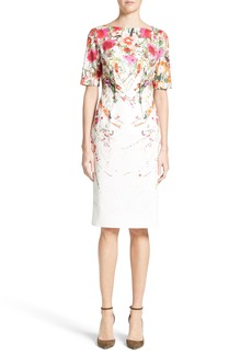Lela Rose Claire Wild Flower Print Sheath Dress