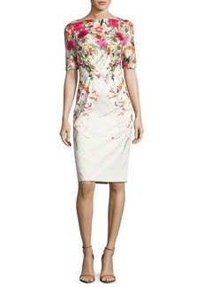 Lela Rose Clarie Floral Boat-Neck Sheath Dress
