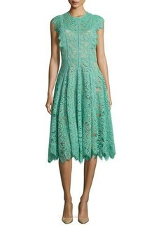 Lela Rose Collared Ruffled-Trim Lace Dress