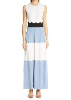 Lela Rose Colorblock Sleeveless Midi Dress