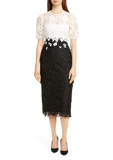 Lela Rose Contrast Bodice Lace Sheath Dress