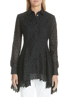 Lela Rose Cotton & Silk Lace Flare Hem Blouse (Nordstrom Exclusive)