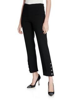Lela Rose Crepe Crystal Button-Cuff Pants