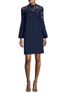 Lela Rose Crepe Minidress with Guipure Lace Yoke