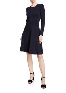 Lela Rose Crewneck Long-Sleeve Fit-and-Flare Knit Jacquard Dress