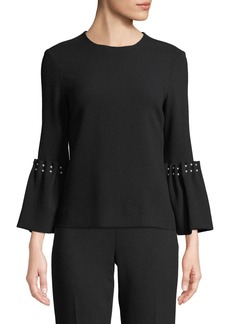 Lela Rose Crewneck Long-Sleeve Wool-Blend Top with Pearlescent Trim