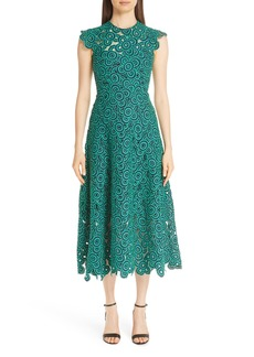 Lela Rose Crochet Circle Midi Dress