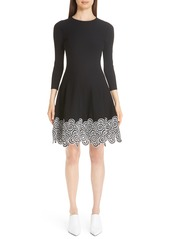 Lela Rose Crochet Lace Hem Fit & Flare Dress