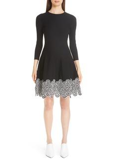 Lela Rose Crochet Lace Hem Fit & Flare Dress