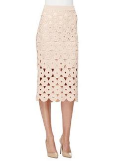Lela Rose Crochet Midi Pencil Skirt