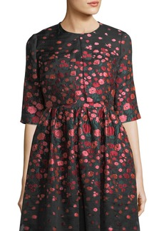 Lela Rose Cropped Floral Brocade Jacket