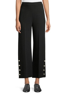 Lela Rose Cropped Wide-Leg Pants w/ Pearlescent Buttons