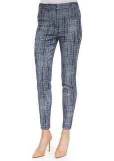 Lela Rose Crosshatch-Print Straight-Leg Pants