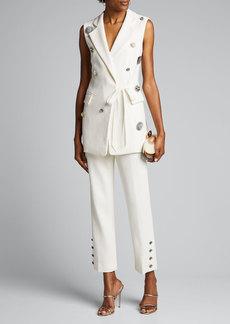 Lela Rose Crystal Button Crepe Wrap Vest