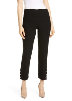 Lela Rose Crystal Button Cuff Wool Blend Pants