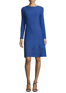 Lela Rose Diamond Laser-Cut Long-Sleeve Dress