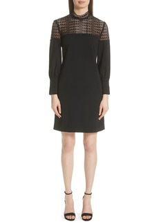 Lela Rose Dot Lace Yoke Dress