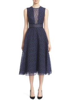 Lela Rose Dotted Organza Fit & Flare Midi Dress