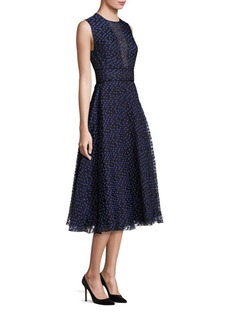 Lela Rose Dotted Organza Midi Dress