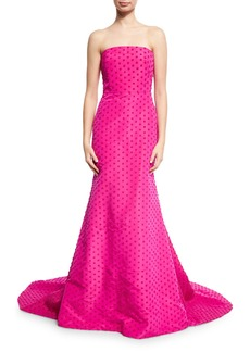 Lela Rose Dotted Strapless Evening Gown