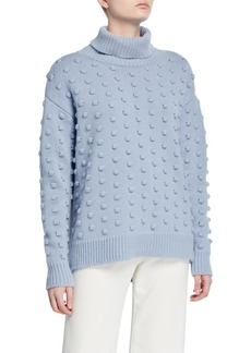Lela Rose Dotted Wool-Cashmere Turtleneck
