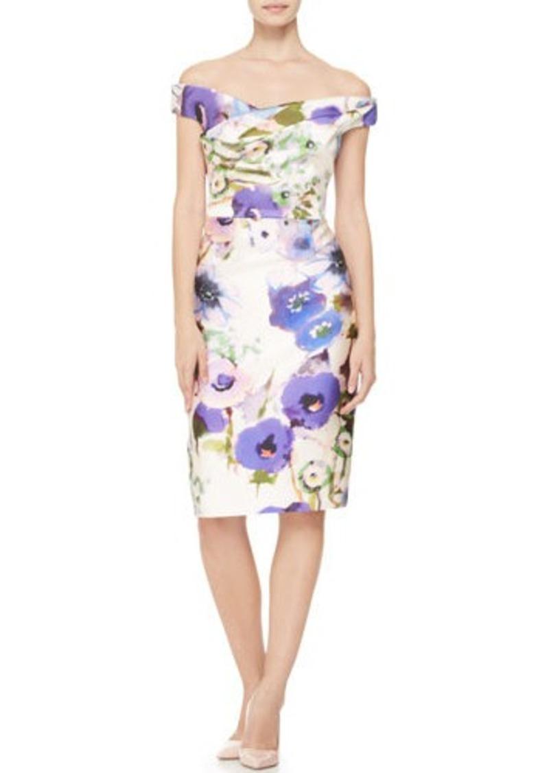 Lela Rose Draped Off-Shoulder Floral Dress