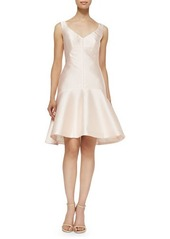 Lela Rose Drop-Waist Fit-and-Flare Faille Dress