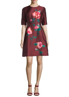 Elbow-Sleeve Fit-and-Flare Floral-Print Cocktail Dress