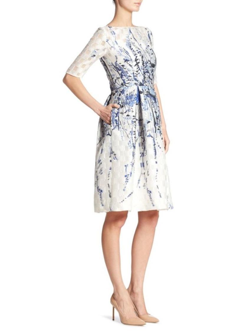 63041114231 Lela Rose Lela Rose Elbow-Sleeve Floral Dress
