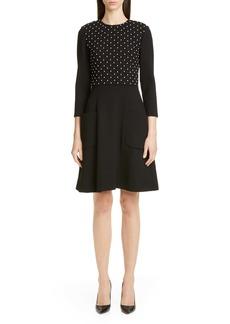 Lela Rose Embellished Bodice Stretch Wool A-Line Minidress