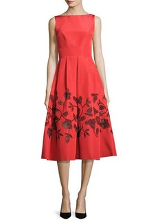 Lela Rose Embellished Laser-Cut Floral Dress