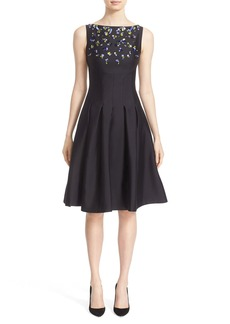 Lela Rose Embellished Wool & Silk Fit & Flare Dress