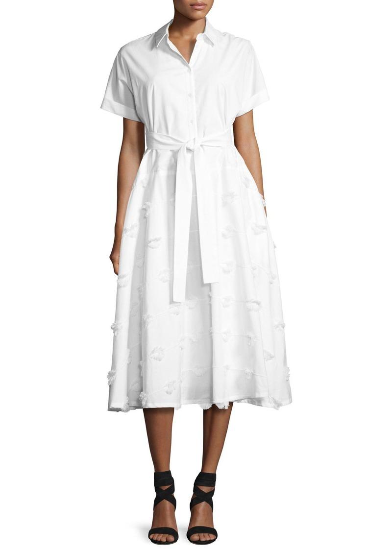 Lela Rose Embroidered Belted Shirtdress