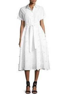 Lela Rose Embroidered Belted Shirtdress