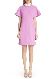 Lela Rose Detachable Embroidered Collar Tunic Dress