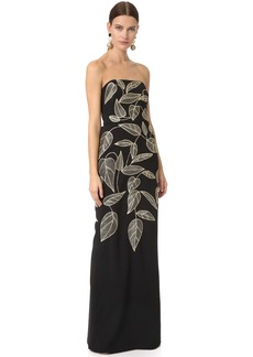 Lela Rose Embroidered Column Gown