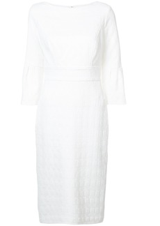 Lela Rose embroidered detail midi dress - White