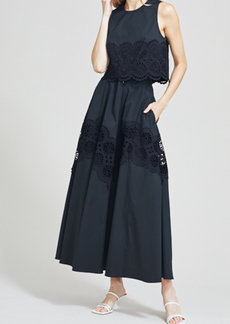 Lela Rose Embroidered Eyelet Poplin A-Line Skirt