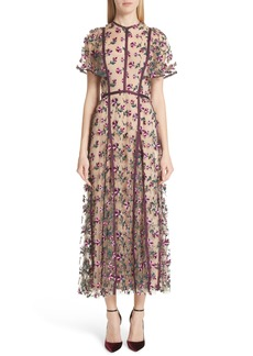 Lela Rose Embroidered Flutter Sleeve Midi Dress