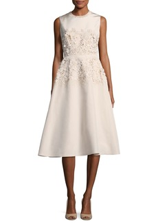 Lela Rose Embroidered Jewel-Neck Dress