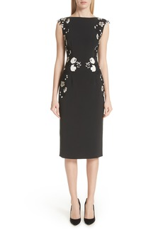 Lela Rose Embroidered Sheath Dress