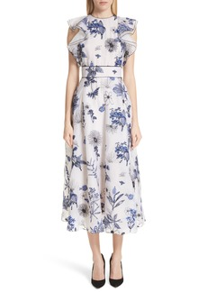 Lela Rose Embroidered Silk Ruffle Midi Dress