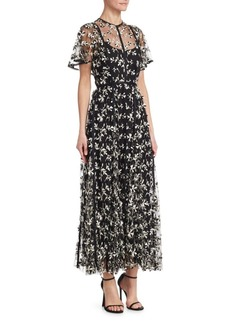 Lela Rose Embroidered Tulle Flutter-Sleeve A-Line Dress