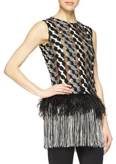 Lela Rose Feather & Fringe Trimmed Cable-Paneled Top