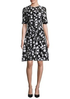 Lela Rose Fil Coupe Half-Sleeve A-Line Dress